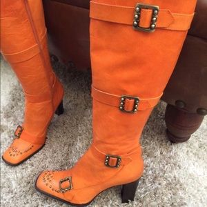 Anna Sui Runway Orange Leather Boots, Knee High ,